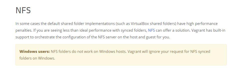 Vagrant on NFS on Windows